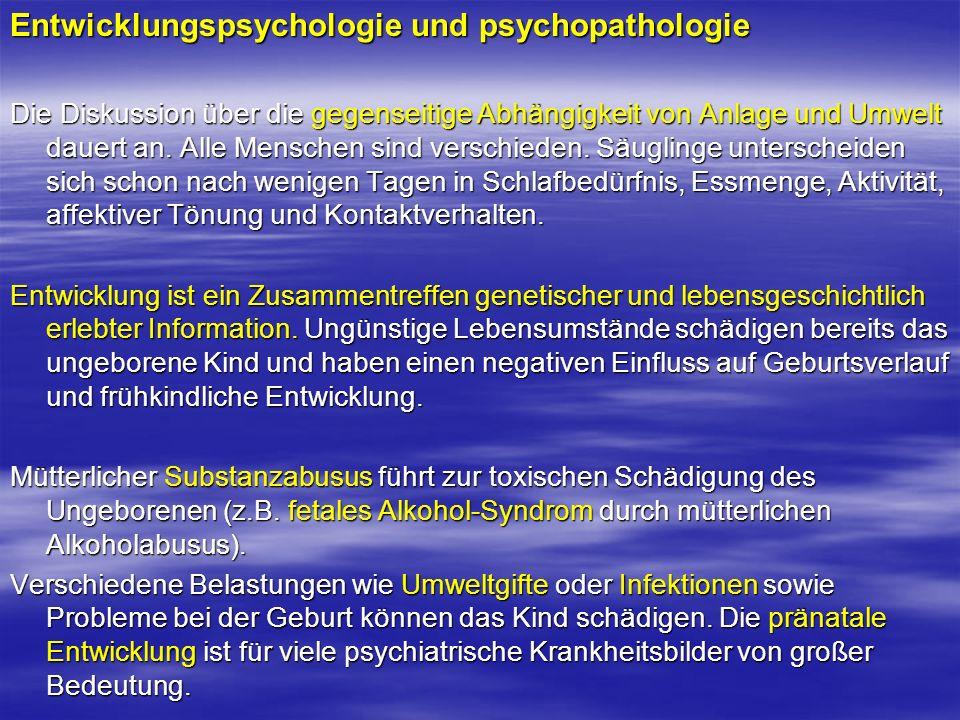 Entwicklungspsychologie und psychopathologie Die Diskussion über die gegenseitige Abhängigkeit von Anlage und Umwelt dauert an. Alle Menschen sind ver