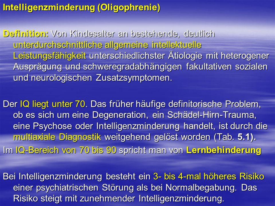 Intelligenzminderung (Oligophrenie) Definition: Von Kindesalter an bestehende, deutlich unterdurchschnittliche allgemeine intellektuelle Leistungsfähi