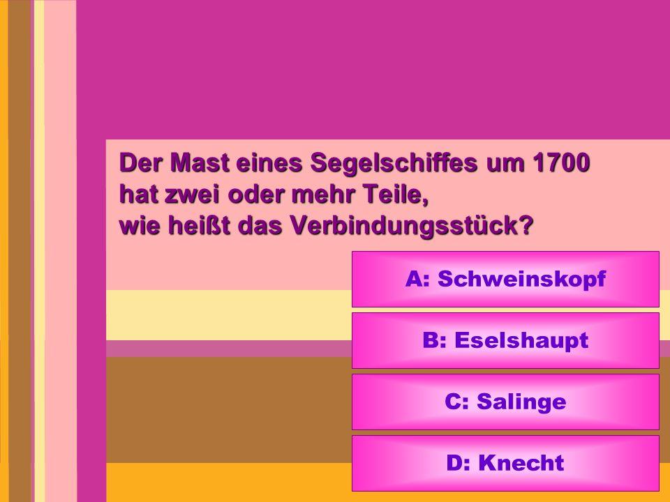 Der Mast eines Segelschiffes um 1700 hat zwei oder mehr Teile, wie heißt das Verbindungsstück? A: Schweinskopf B: Eselshaupt C: Salinge D: Knecht