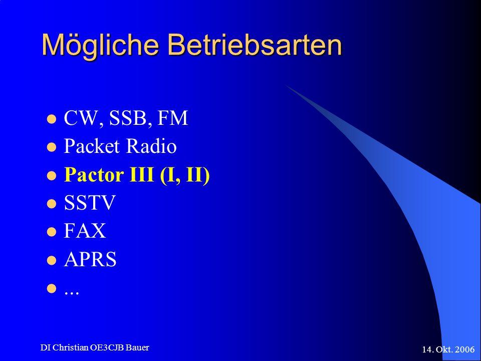 14. Okt. 2006 DI Christian OE3CJB Bauer Mögliche Betriebsarten CW, SSB, FM Packet Radio Pactor III (I, II) SSTV FAX APRS...