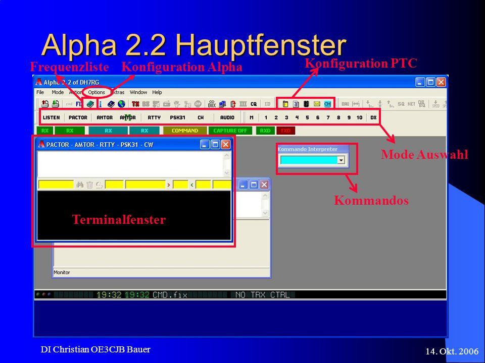 14. Okt. 2006 DI Christian OE3CJB Bauer Alpha 2.2 Hauptfenster Konfiguration PTC Kommandos Mode Auswahl Terminalfenster FrequenzlisteKonfiguration Alp