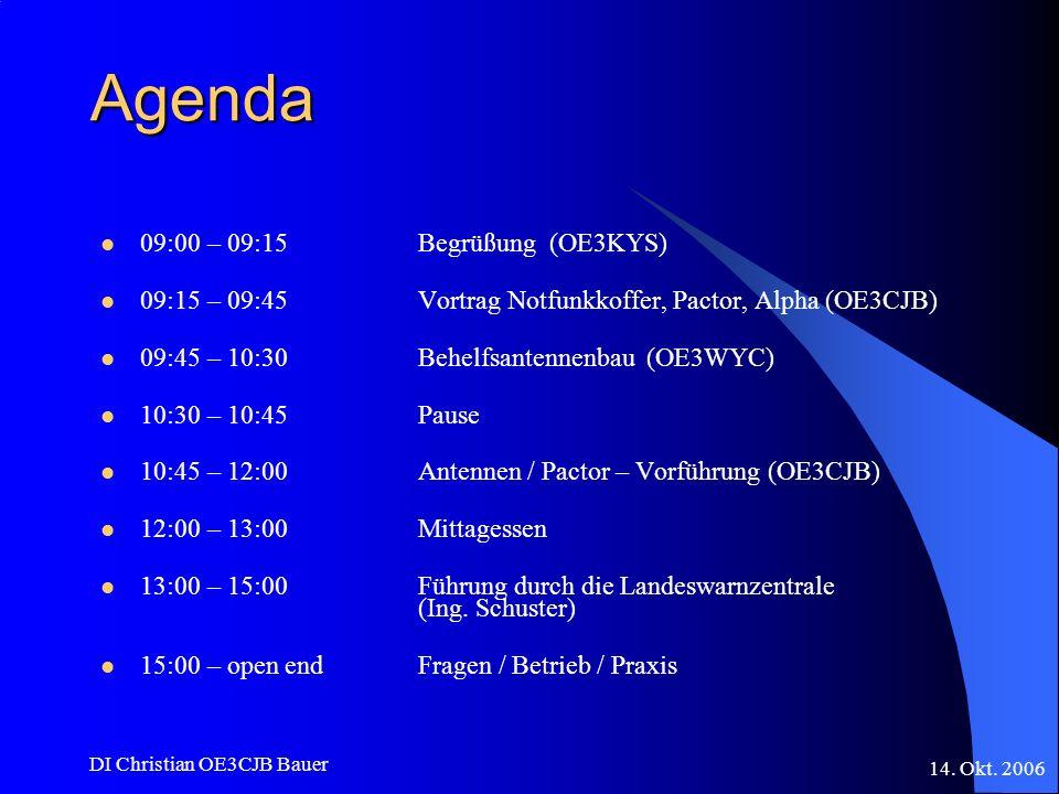 14. Okt. 2006 DI Christian OE3CJB Bauer Agenda 09:00 – 09:15Begrüßung (OE3KYS) 09:15 – 09:45Vortrag Notfunkkoffer, Pactor, Alpha (OE3CJB) 09:45 – 10:3
