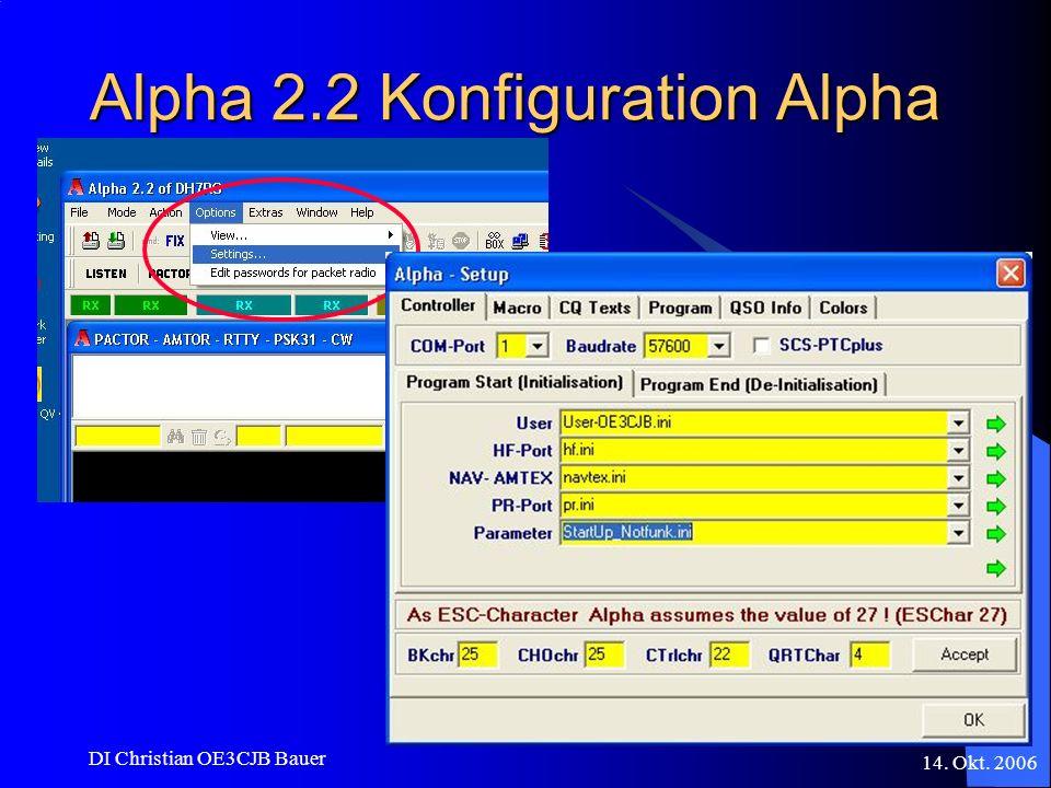 14. Okt. 2006 DI Christian OE3CJB Bauer Alpha 2.2 Konfiguration Alpha