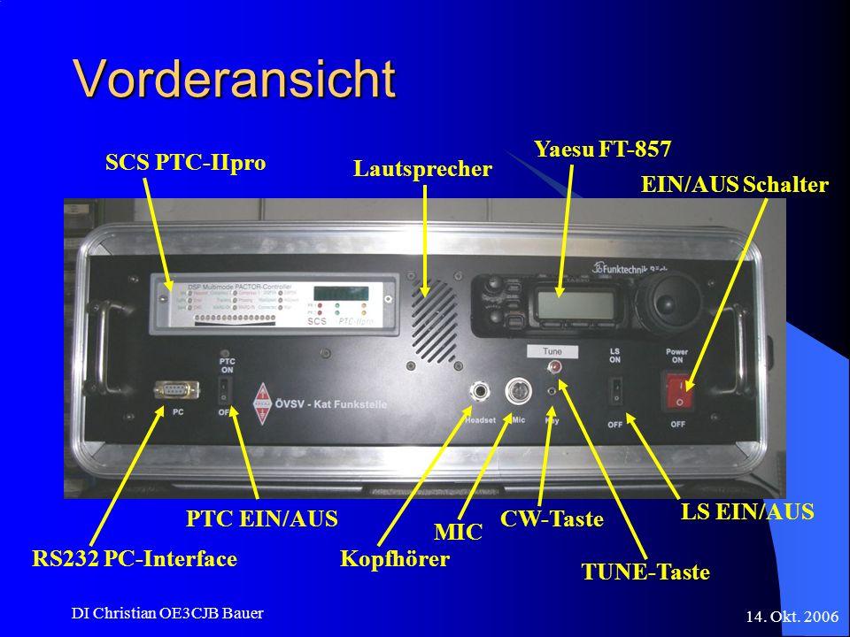 14. Okt. 2006 DI Christian OE3CJB Bauer Vorderansicht SCS PTC-IIpro Yaesu FT-857 Lautsprecher MIC Kopfhörer CW-Taste TUNE-Taste LS EIN/AUS EIN/AUS Sch