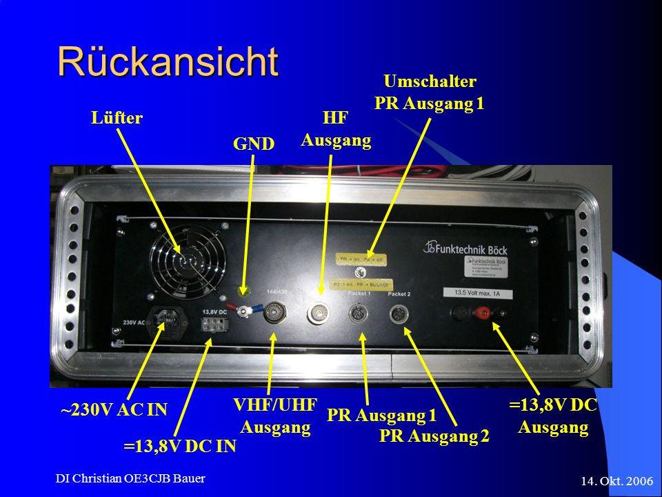 14. Okt. 2006 DI Christian OE3CJB Bauer Rückansicht Lüfter ~230V AC IN =13,8V DC IN GND VHF/UHF Ausgang HF Ausgang PR Ausgang 1 PR Ausgang 2 Umschalte
