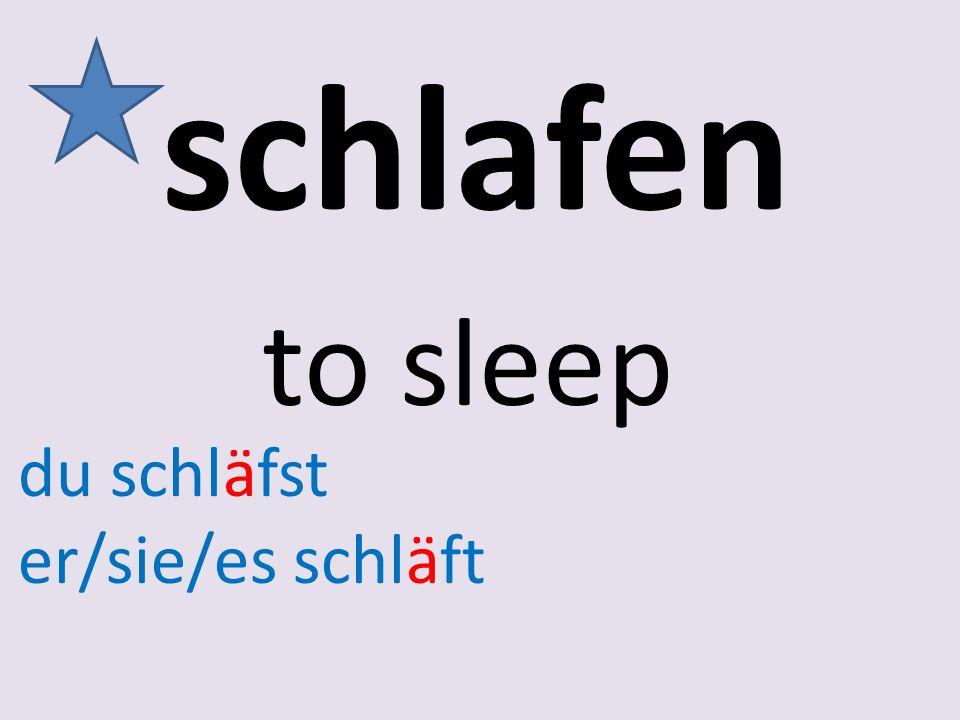 schlafen to sleep du schläfst er/sie/es schläft