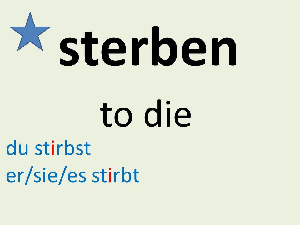 sterben to die du stirbst er/sie/es stirbt