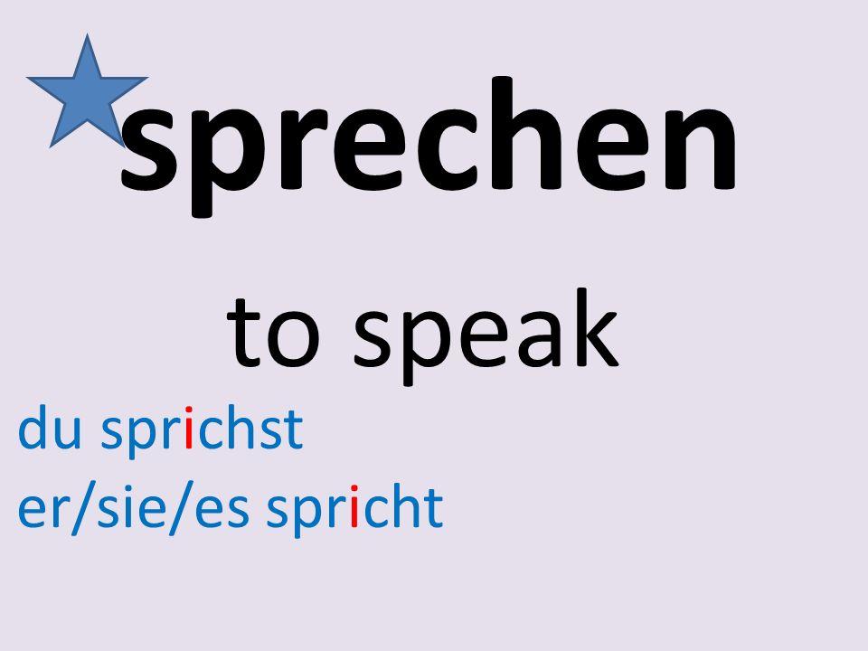 sprechen to speak du sprichst er/sie/es spricht