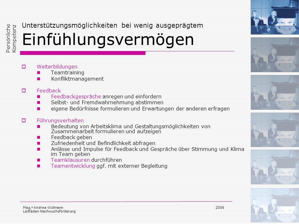 Mag. a Andrea Widmann Leitfaden Nachwuchsförderung 2006 Unterstützungsmöglichkeiten bei wenig ausgeprägtem Einfühlungsvermögen Weiterbildungen Teamtra