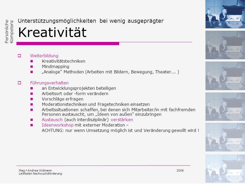 Mag. a Andrea Widmann Leitfaden Nachwuchsförderung 2006 Unterstützungsmöglichkeiten bei wenig ausgeprägter Kreativität Weiterbildung Kreativitätstechn