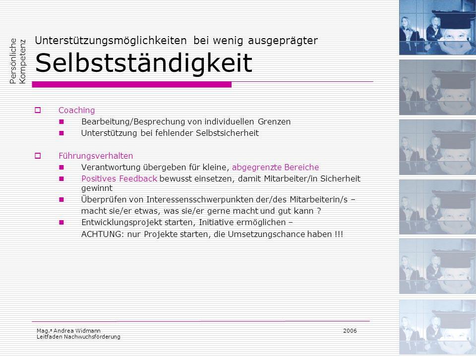 Mag. a Andrea Widmann Leitfaden Nachwuchsförderung 2006 Unterstützungsmöglichkeiten bei wenig ausgeprägter Selbstständigkeit Coaching Bearbeitung/Besp