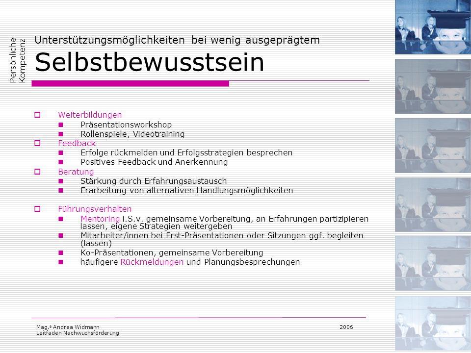 Mag. a Andrea Widmann Leitfaden Nachwuchsförderung 2006 Unterstützungsmöglichkeiten bei wenig ausgeprägtem Selbstbewusstsein Weiterbildungen Präsentat