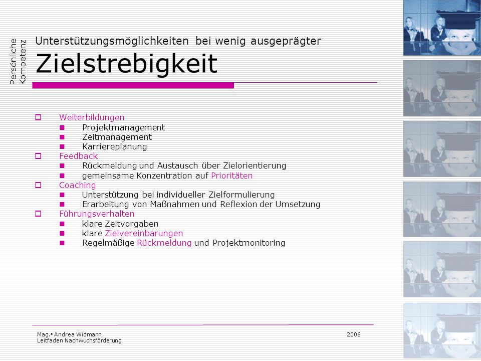 Mag. a Andrea Widmann Leitfaden Nachwuchsförderung 2006 Unterstützungsmöglichkeiten bei wenig ausgeprägter Zielstrebigkeit Weiterbildungen Projektmana
