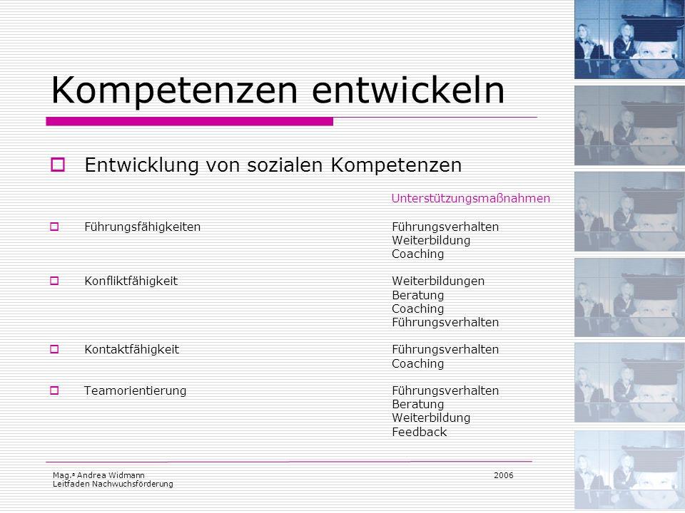 Mag. a Andrea Widmann Leitfaden Nachwuchsförderung 2006 Kompetenzen entwickeln Entwicklung von sozialen Kompetenzen Unterstützungsmaßnahmen Führungsfä