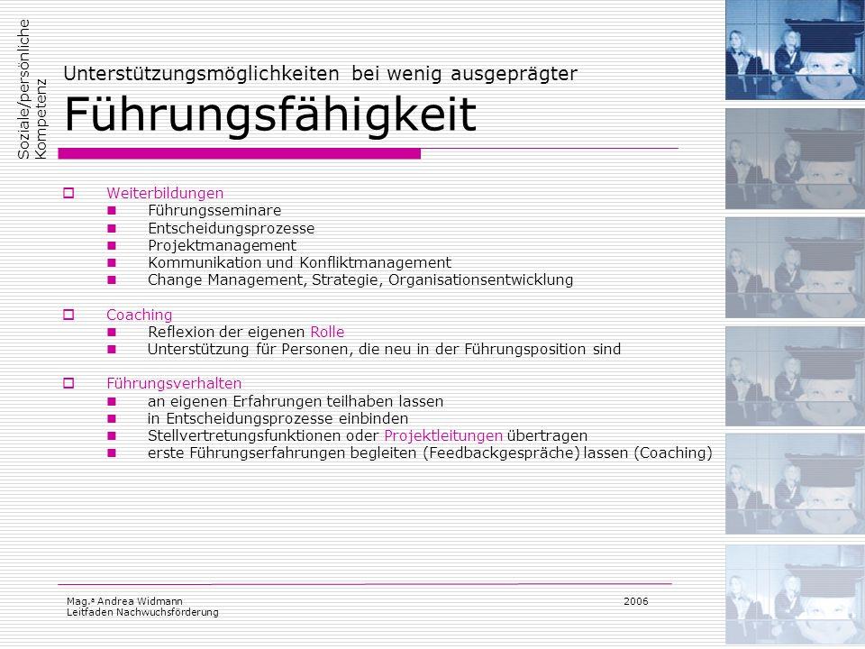 Mag. a Andrea Widmann Leitfaden Nachwuchsförderung 2006 Unterstützungsmöglichkeiten bei wenig ausgeprägter Führungsfähigkeit Weiterbildungen Führungss