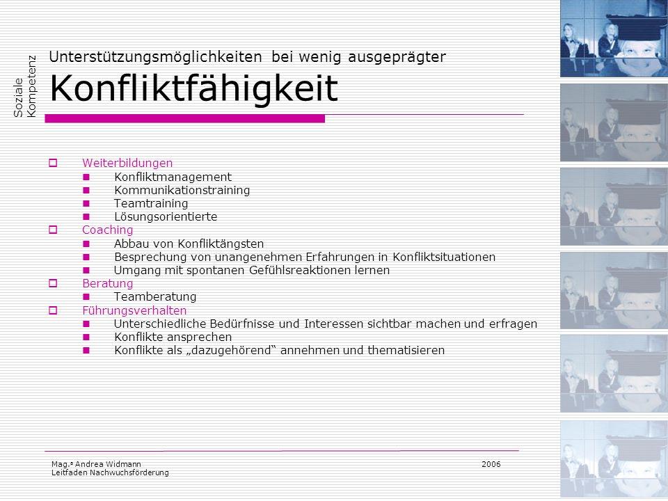 Mag. a Andrea Widmann Leitfaden Nachwuchsförderung 2006 Unterstützungsmöglichkeiten bei wenig ausgeprägter Konfliktfähigkeit Weiterbildungen Konfliktm