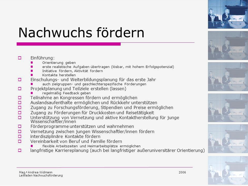 Mag. a Andrea Widmann Leitfaden Nachwuchsförderung 2006 Nachwuchs fördern Einführung: Orientierung geben erste realistische Aufgaben übertragen (lösba