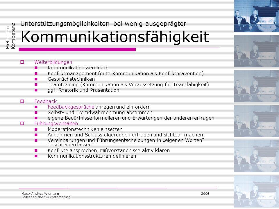 Mag. a Andrea Widmann Leitfaden Nachwuchsförderung 2006 Unterstützungsmöglichkeiten bei wenig ausgeprägter Kommunikationsfähigkeit Weiterbildungen Kom