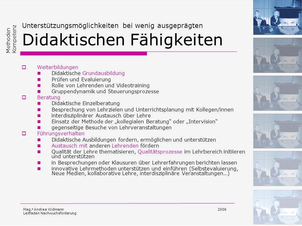 Mag. a Andrea Widmann Leitfaden Nachwuchsförderung 2006 Unterstützungsmöglichkeiten bei wenig ausgeprägten Didaktischen Fähigkeiten Weiterbildungen Di