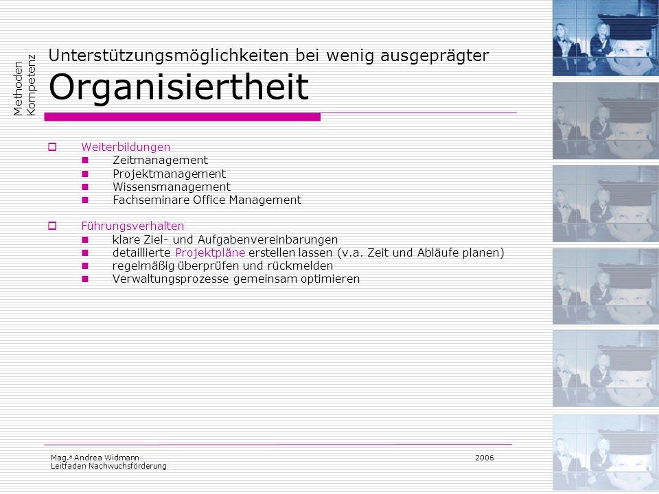 Mag. a Andrea Widmann Leitfaden Nachwuchsförderung 2006 Unterstützungsmöglichkeiten bei wenig ausgeprägter Organisiertheit Weiterbildungen Zeitmanagem