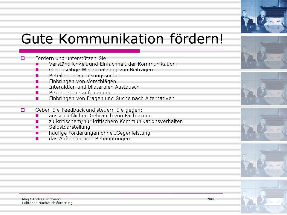Mag. a Andrea Widmann Leitfaden Nachwuchsförderung 2006 Gute Kommunikation fördern! Fördern und unterstützen Sie Verständlichkeit und Einfachheit der