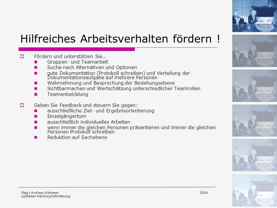 Mag. a Andrea Widmann Leitfaden Nachwuchsförderung 2006 Hilfreiches Arbeitsverhalten fördern ! Fördern und unterstützen Sie… Gruppen- und Teamarbeit S