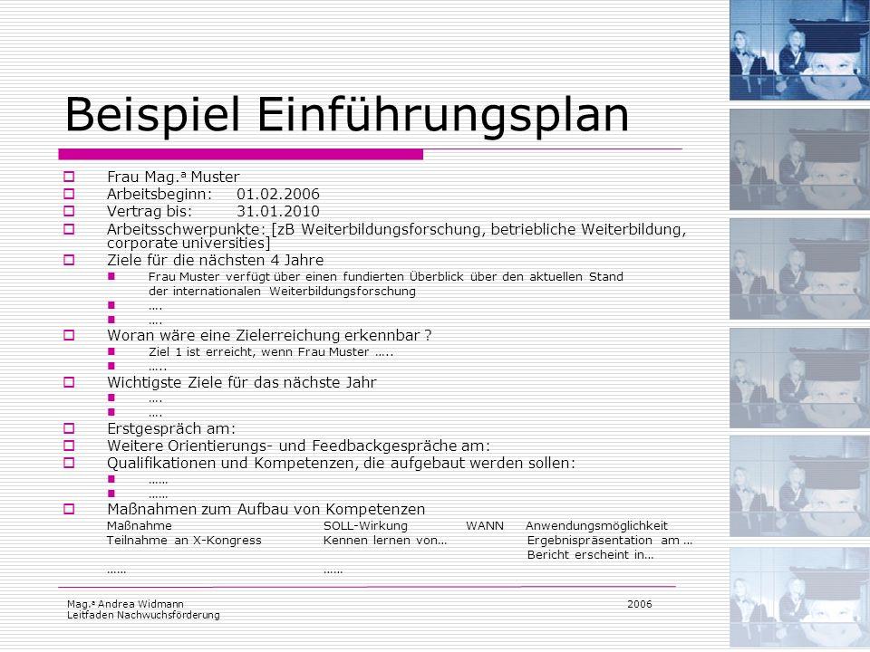 Mag. a Andrea Widmann Leitfaden Nachwuchsförderung 2006 Beispiel Einführungsplan Frau Mag. a Muster Arbeitsbeginn:01.02.2006 Vertrag bis:31.01.2010 Ar