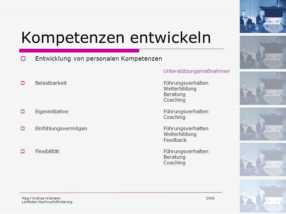 Mag. a Andrea Widmann Leitfaden Nachwuchsförderung 2006 Kompetenzen entwickeln Entwicklung von personalen Kompetenzen Unterstützungsmaßnahmen Belastba