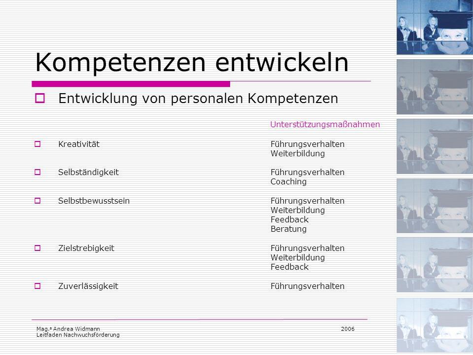 Mag. a Andrea Widmann Leitfaden Nachwuchsförderung 2006 Kompetenzen entwickeln Entwicklung von personalen Kompetenzen Unterstützungsmaßnahmen Kreativi