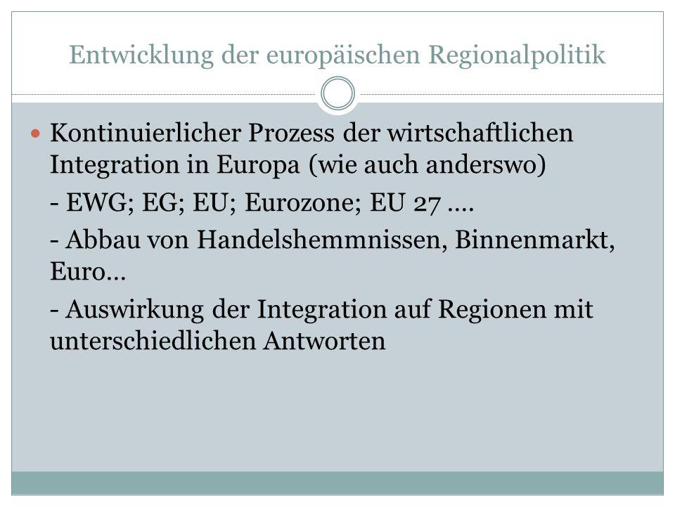 Entwicklung der europäischen Regionalpolitik Kontinuierlicher Prozess der wirtschaftlichen Integration in Europa (wie auch anderswo) - EWG; EG; EU; Eurozone; EU 27 ….