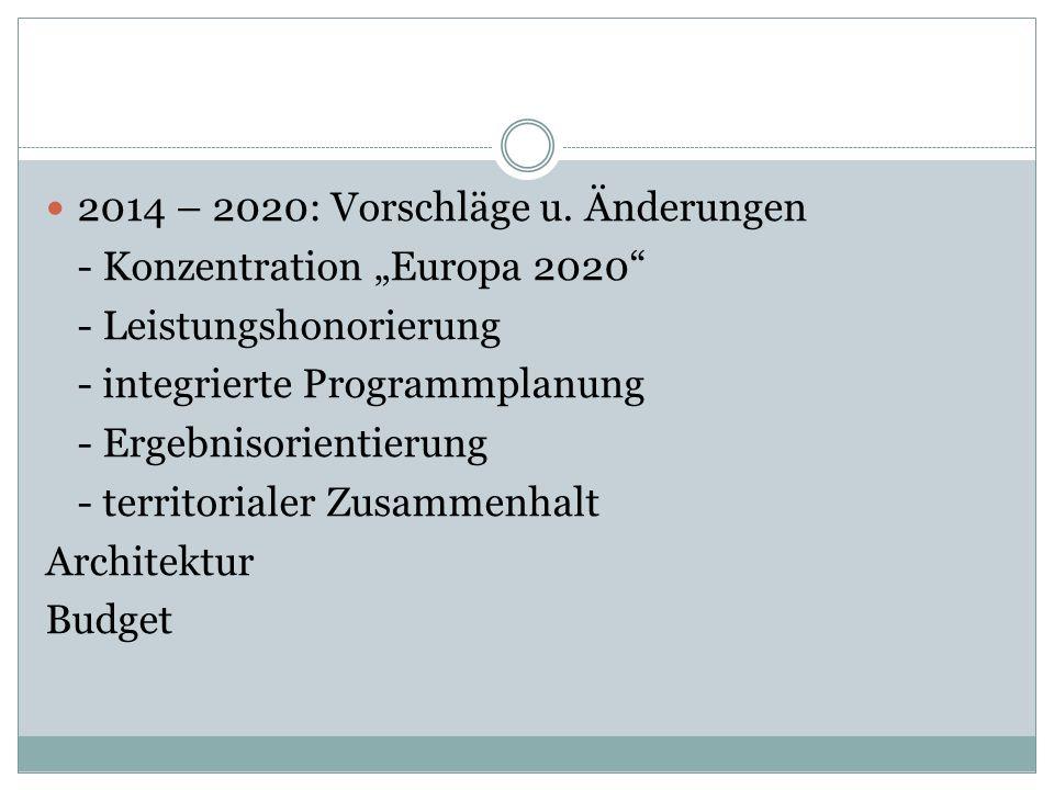 2014 – 2020: Vorschläge u.
