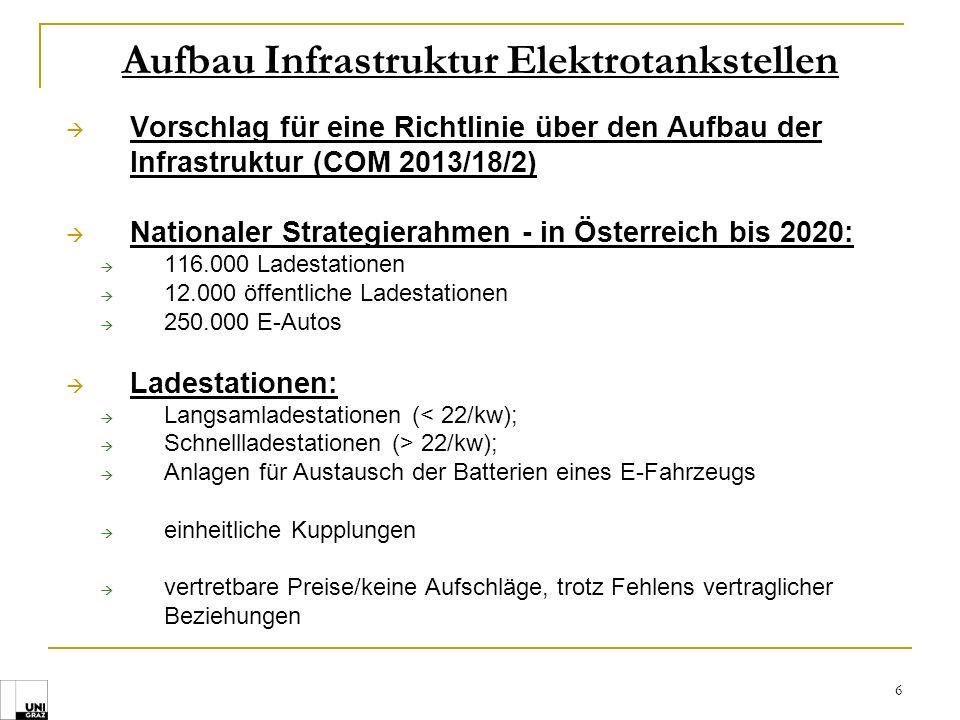 6 Aufbau Infrastruktur Elektrotankstellen Vorschlag für eine Richtlinie über den Aufbau der Infrastruktur (COM 2013/18/2) Nationaler Strategierahmen -