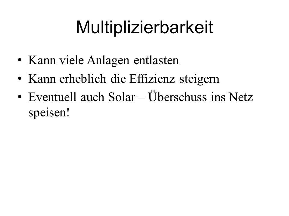 Multiplizierbarkeit Kann viele Anlagen entlasten Kann erheblich die Effizienz steigern Eventuell auch Solar – Überschuss ins Netz speisen!