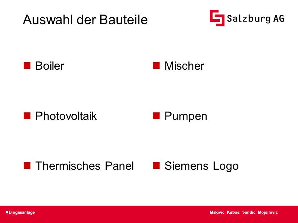 Auswahl der Bauteile Boiler Photovoltaik Thermisches Panel Mischer Pumpen Siemens Logo Makivic, Kirbas, Sandic, Mojsilovic Biogasanlage