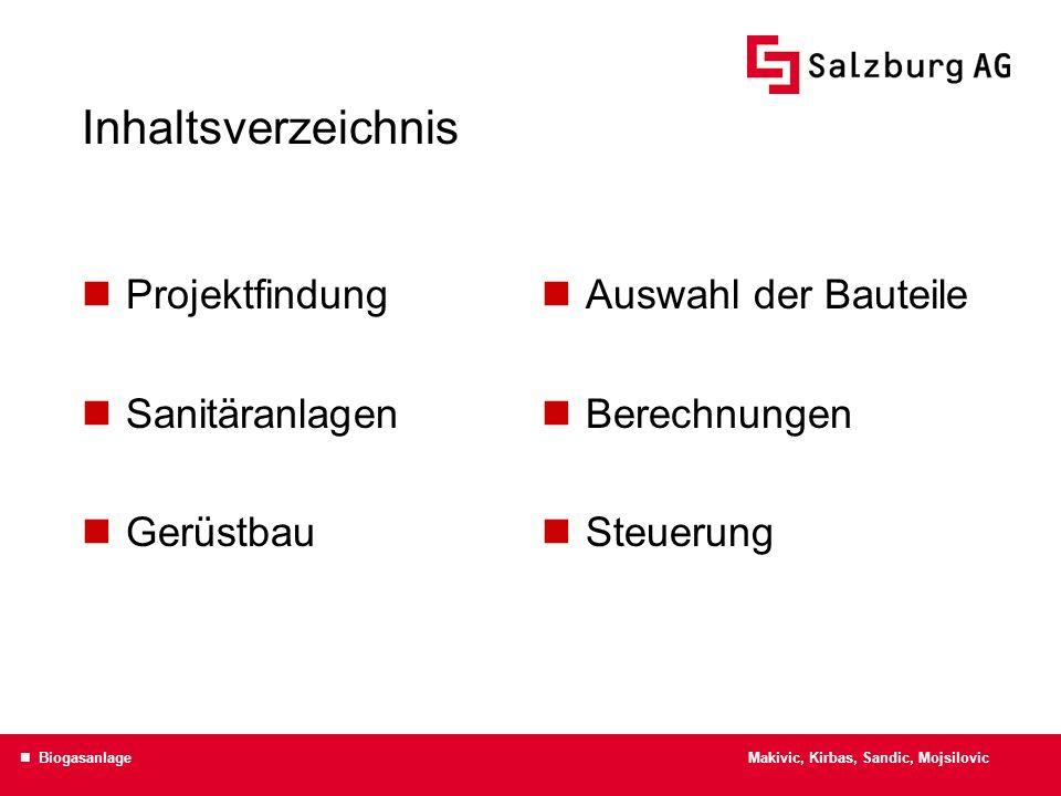 Inhaltsverzeichnis Projektfindung Sanitäranlagen Gerüstbau Auswahl der Bauteile Berechnungen Steuerung Makivic, Kirbas, Sandic, Mojsilovic Biogasanlag