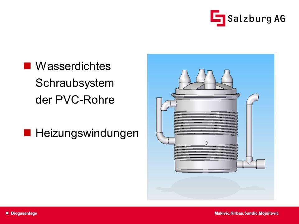 Wasserdichtes Schraubsystem der PVC-Rohre Heizungswindungen Makivic,Kirbas,Sandic,Mojsilovic Biogasanlage