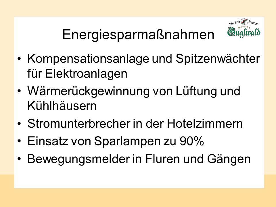 Energiesparmaßnahmen Kompensationsanlage und Spitzenwächter für Elektroanlagen Wärmerückgewinnung von Lüftung und Kühlhäusern Stromunterbrecher in der Hotelzimmern Einsatz von Sparlampen zu 90% Bewegungsmelder in Fluren und Gängen