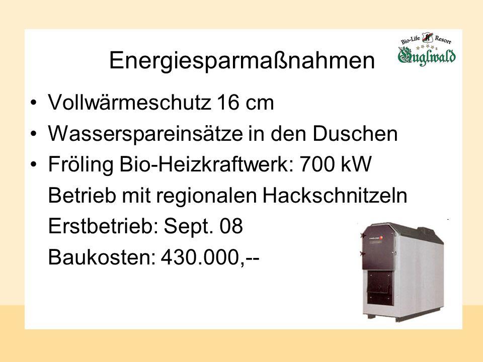 Energiesparmaßnahmen Vollwärmeschutz 16 cm Wasserspareinsätze in den Duschen Fröling Bio-Heizkraftwerk: 700 kW Betrieb mit regionalen Hackschnitzeln Erstbetrieb: Sept.