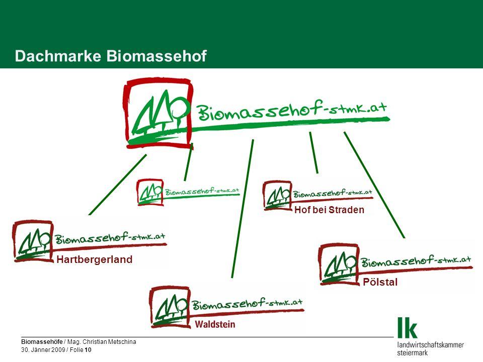 Biomassehöfe / Mag. Christian Metschina 30. Jänner 2009 / Folie 10 Dachmarke Biomassehof Hartbergerland Hof bei Straden Pölstal