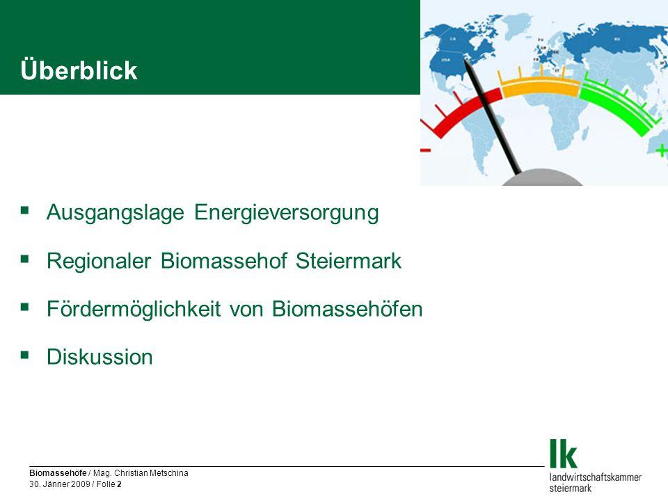 Biomassehöfe / Mag. Christian Metschina 30. Jänner 2009 / Folie 2 Überblick Ausgangslage Energieversorgung Regionaler Biomassehof Steiermark Fördermög