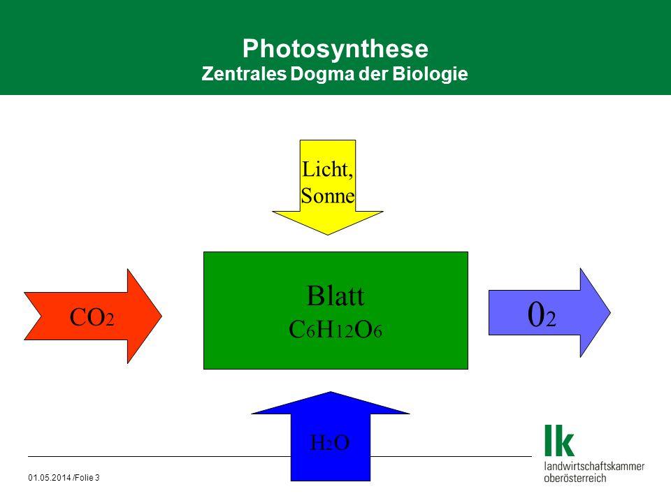 01.05.2014 /Folie 3 Photosynthese Zentrales Dogma der Biologie Blatt C 6 H 12 O 6 0202 H2OH2O Licht, Sonne CO 2