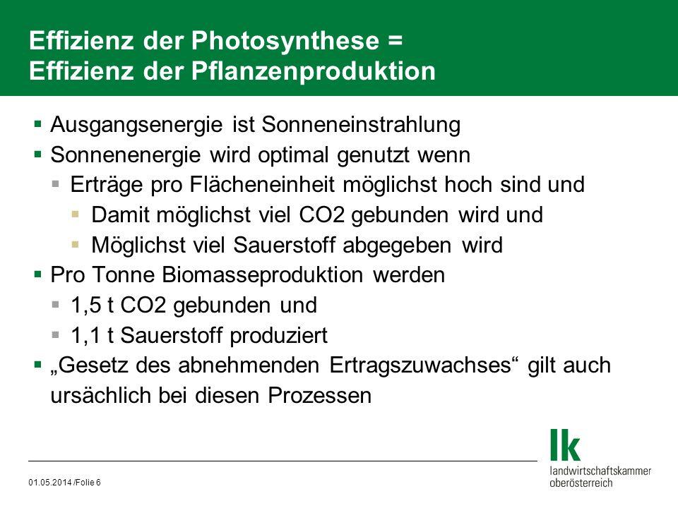 01.05.2014 /Folie 6 Effizienz der Photosynthese = Effizienz der Pflanzenproduktion Ausgangsenergie ist Sonneneinstrahlung Sonnenenergie wird optimal g