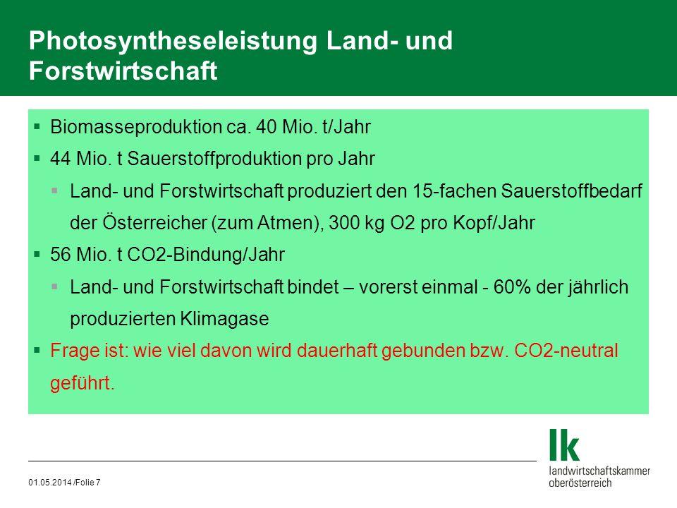 01.05.2014 /Folie 7 Photosyntheseleistung Land- und Forstwirtschaft Biomasseproduktion ca. 40 Mio. t/Jahr 44 Mio. t Sauerstoffproduktion pro Jahr Land