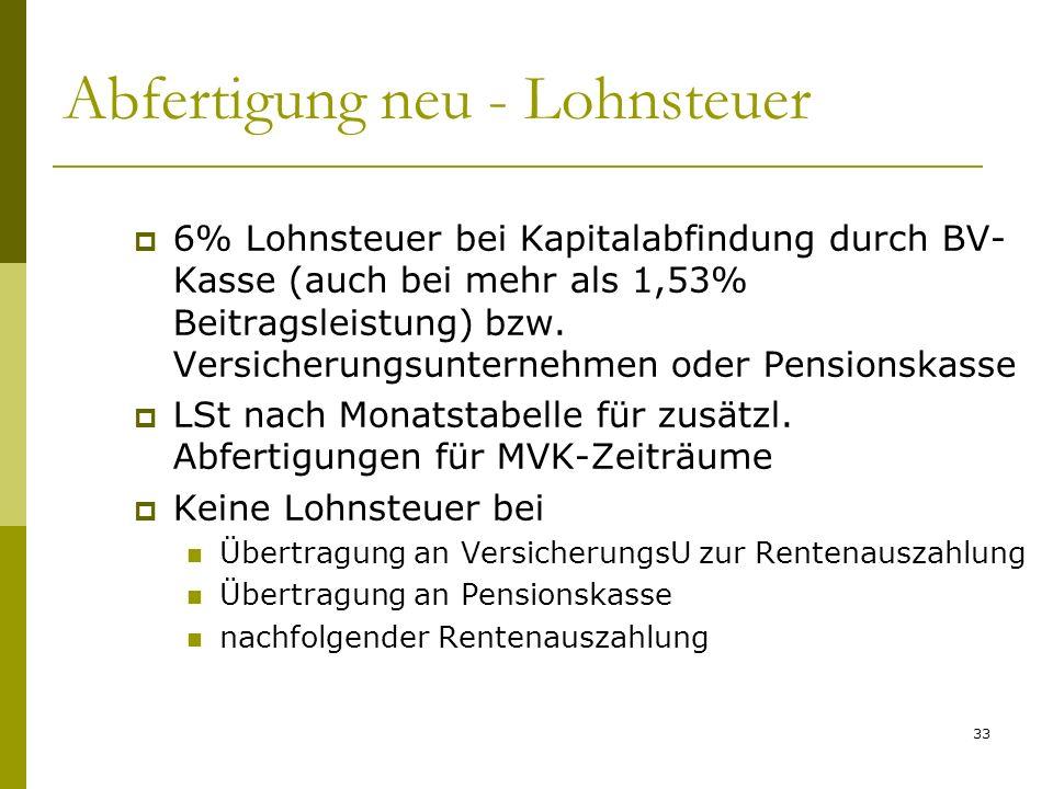 33 Abfertigung neu - Lohnsteuer 6% Lohnsteuer bei Kapitalabfindung durch BV- Kasse (auch bei mehr als 1,53% Beitragsleistung) bzw. Versicherungsuntern