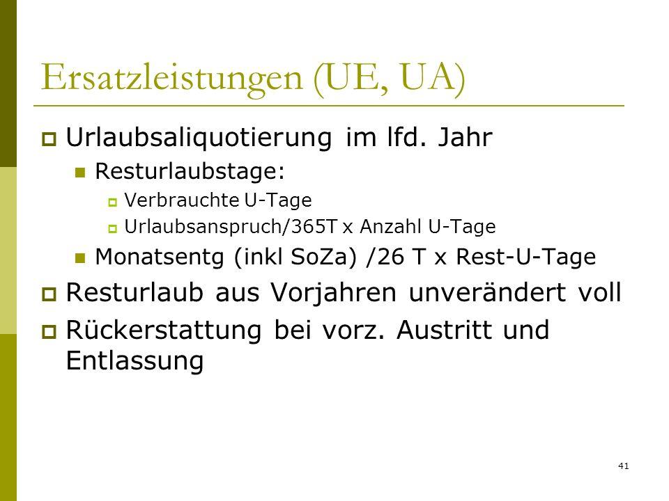 41 Ersatzleistungen (UE, UA) Urlaubsaliquotierung im lfd.