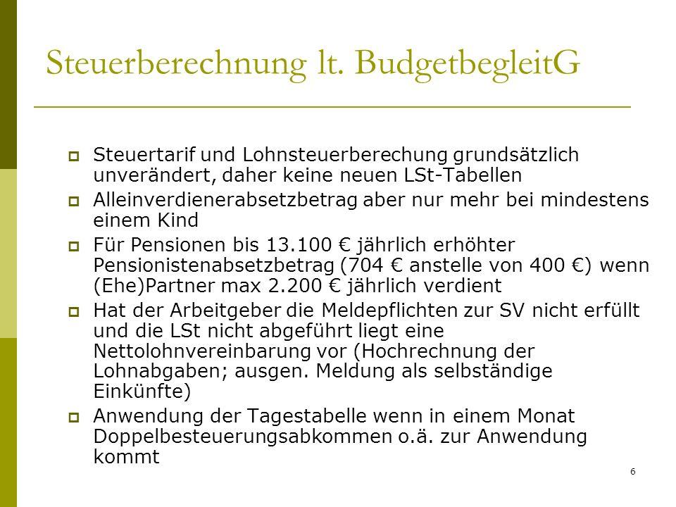 6 Steuerberechnung lt. BudgetbegleitG Steuertarif und Lohnsteuerberechung grundsätzlich unverändert, daher keine neuen LSt-Tabellen Alleinverdienerabs