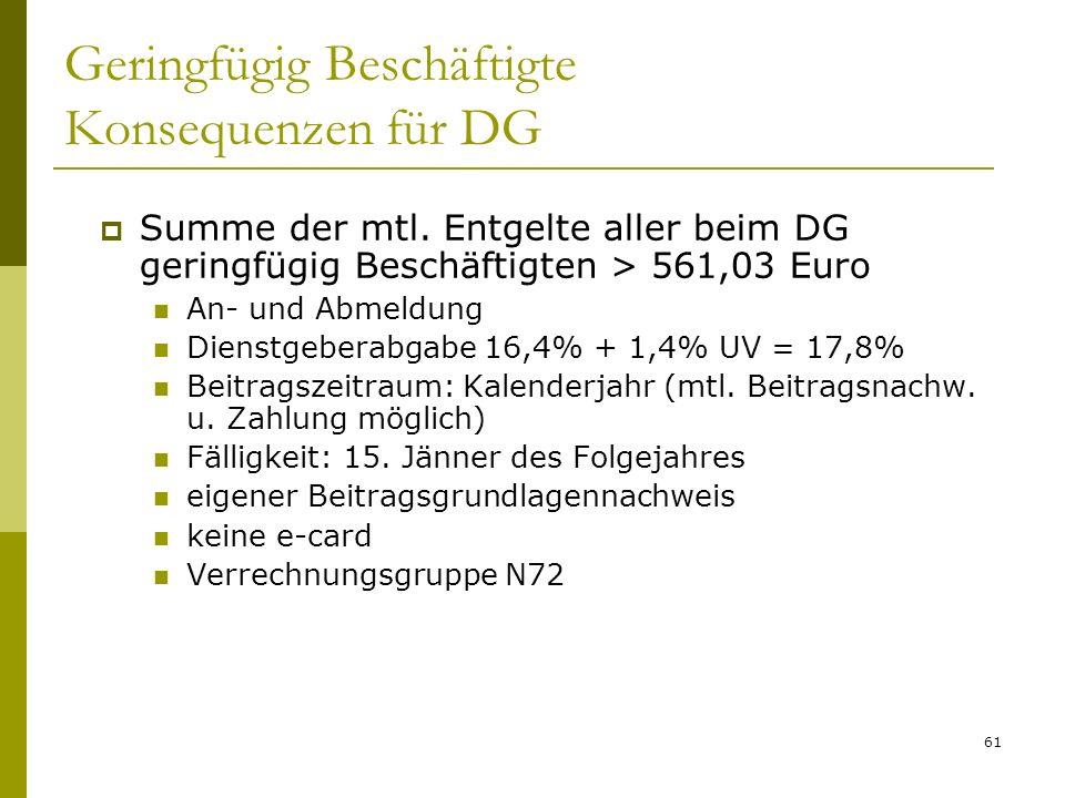 61 Geringfügig Beschäftigte Konsequenzen für DG Summe der mtl. Entgelte aller beim DG geringfügig Beschäftigten > 561,03 Euro An- und Abmeldung Dienst