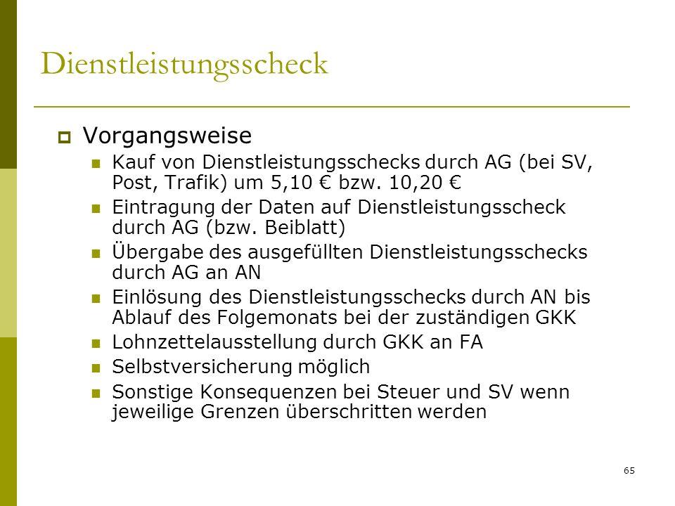 65 Dienstleistungsscheck Vorgangsweise Kauf von Dienstleistungsschecks durch AG (bei SV, Post, Trafik) um 5,10 bzw.