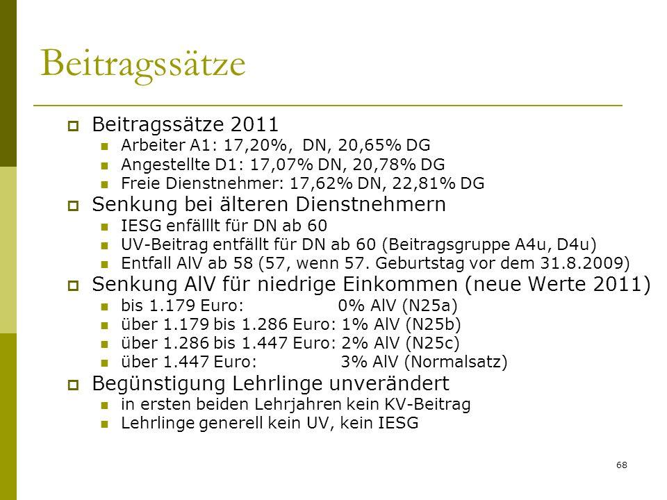 68 Beitragssätze Beitragssätze 2011 Arbeiter A1: 17,20%, DN, 20,65% DG Angestellte D1: 17,07% DN, 20,78% DG Freie Dienstnehmer: 17,62% DN, 22,81% DG Senkung bei älteren Dienstnehmern IESG enfälllt für DN ab 60 UV-Beitrag entfällt für DN ab 60 (Beitragsgruppe A4u, D4u) Entfall AlV ab 58 (57, wenn 57.