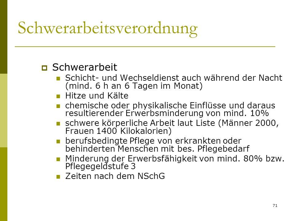 71 Schwerarbeitsverordnung Schwerarbeit Schicht- und Wechseldienst auch während der Nacht (mind.